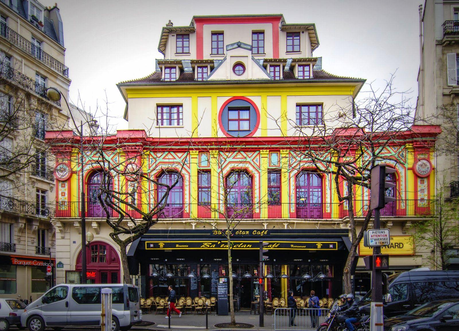 La facciata del Bataclan in Boulevard Voltaire a Parigi